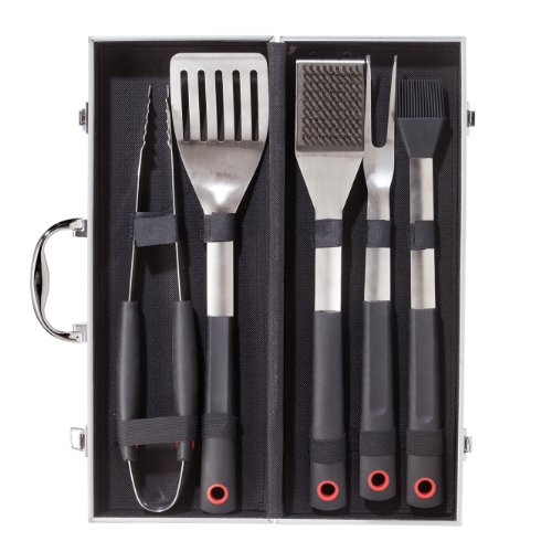 Oggi 6-Piece Stainless Steel Barbeque Set With Aluminum Case, X-Large