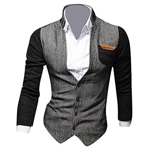 Jeansian Casual Uomo Inverno Moda Giacca Uomo Tendenza Cappotto Design Sottile Capispalla Blazer 9046 Black M