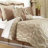 Pacific Coast Textiles 8-Piece Link Comforter Set, Queen, Beige