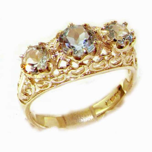 High Quality Solid Yellow Gold Genuine Aquamarine English Filigree Trilogy Ring - Size 9.75 - Finger Sizes 5 to 12 Available