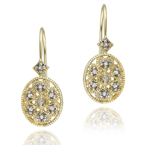 18K Gold over Sterling Silver Diamond Accent Filigree Oval Leverback Earrings