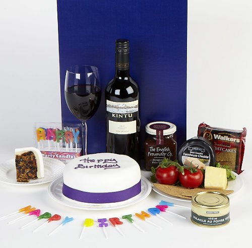 Birthday cheese and wine with iced fruit cake in gift box - birthday hamper gift