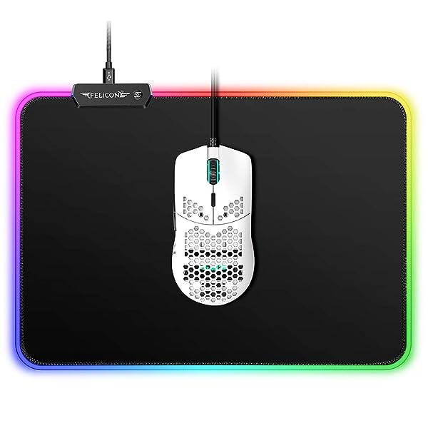 AJ390 Gaming Mouse and Mousepad Combo,69g Lightweight Honeycomb Shell,16,000 DPI Optical Sensor Chroma RGB Lighting Mouse,10 Color RGB LED Light Mouse Pad for PC Gamer(White) (Color: White, Tamaño: Mouse +RGB Mousepad)