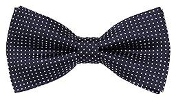 Flora&Fred Men\'s Designer Handmade Polka Dot Bow Tie Navy and White