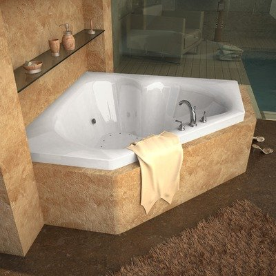 """Tobago 60 X 60 X 23"""" Corner Air And Whirlpool Jetted Bathtub Color/Trim / Tile Flange / Pump: White / Polished Brass / Yes / Left"""