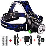 GRDE Zoomable 3 Modes 1800 Lumens Super Bright LED Headlamp with Rechargeable Batteries and Car Charger and AC Charger and USB Cable