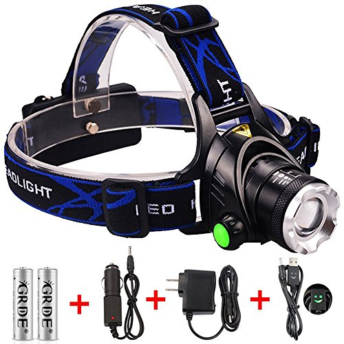 GRDE Zoomable 3 Modes Super Bright LED Headlamp with Rechargeable