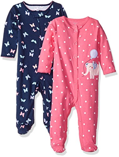 carters-baby-cotton-sleep-and-play-pack-of-2-navy-floral-pink-dot-6-months