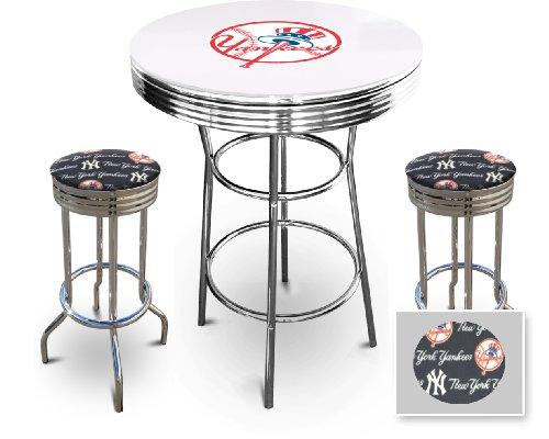 new york yankees glass white top chrome bar pub table set with 2 swivel bar stools kiseoveti. Black Bedroom Furniture Sets. Home Design Ideas
