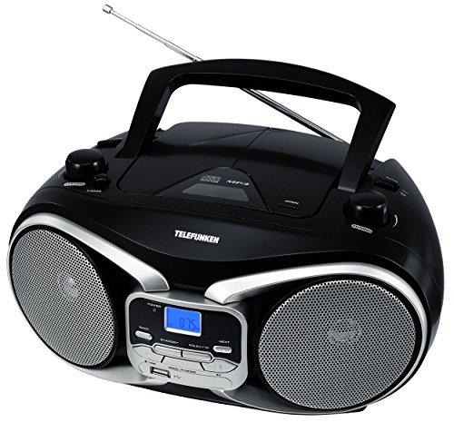Telefunken RC1003M tragbarer MP3-CD-Player (MW-UKW-Radio, Aux-In, Batterie/Netzbetrieb) schwarz/silber