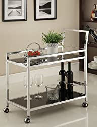 Chrome Metal Bar Tea Serving Cart Wit…
