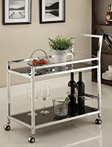 Chrome Metal Bar Tea Serving Cart With Black Tempered Glass by eHomeProducts