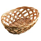 Tablecraft 1636 Woven Willow Wood Oval Handwoven Basket, Tan, 10-Inch ,Set of 12