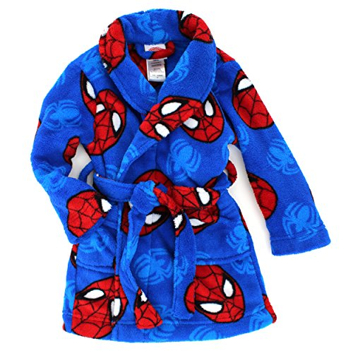 Spider-Man Boys Fleece Bathrobe Robe (2T, Blue Spidey) (Toddler Girl Robe)