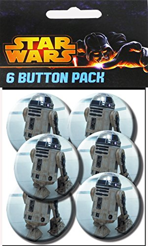 C&D Visionary Star Wars R2D2 1.25 Inch Button, (6-Piece)