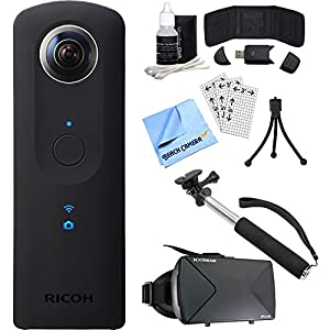 "Ricoh Theta S 360-Degree Spherical Digital Camera Ultimate Bundle includes, 43"" Selfie Stick, Virtual Reality Viewer,Card Reader,Wallet,Mini Tripod,Screen Protectors,Cleaning Kit+ Beach Camera Cloth"