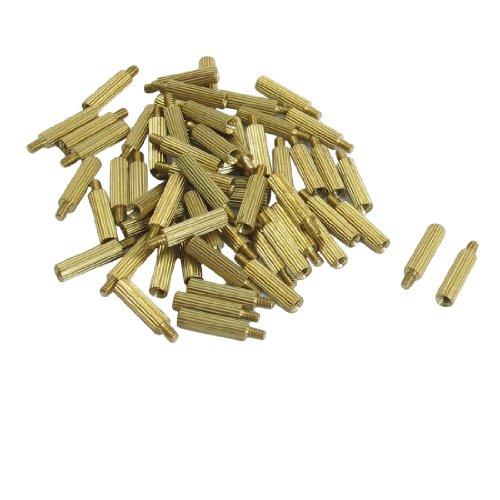 50 Pcs Male to Female Thread Brass Pillars Standoff Spacer M2x11mmx14mm