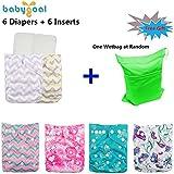 Babygoal Baby Reuseable Washable Pocket Cloth Diaper 6pcs+ 6 Inserts 6fg23