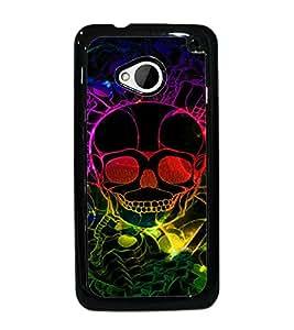 PrintDhaba Digital Skull D-4774 Back Case Cover for HTC ONE M7 (Multi-Coloured)