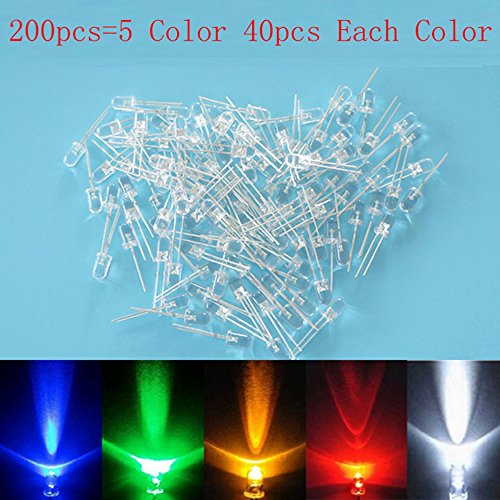 3Mm White Red Blue Green Yellow Led Light Bulb Emitting Diode Lamp Pack Of 100