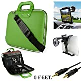 Green CADY Leather Hard Shell Cube Carrying Shoulder Bag For Acer Iconia A200, A210, A500, A510, A700, A710 Tablet + Auxiliary+ Windshield Car Mount