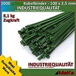 1000 Stk Kabelbinder gr�n 100 x 2,5 m...