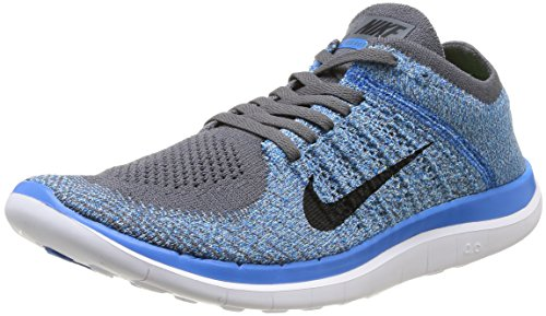 Nike Men's Free 4.0 Flyknit Dark Grey/Blk/Pht Bl/Plrzd Bl Running Shoe 11 Men US