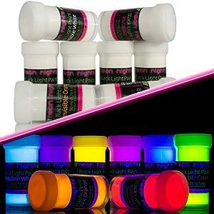 8 x unsichtbare Schwarzlicht-Farbe fluoreszierende UV-Farbe Leuchtfarbe Neon