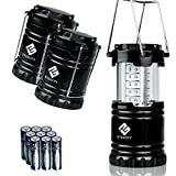 Etekcity 3 Pack Portable Outdoor LED Camping Lantern with 9 AA Batteries (Black, Collapsible)