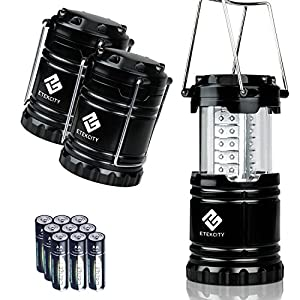 Etekcity 3 Pack LED Camping Lantern Flashlight, Ultra Bright Camping equipment (Black, Collapsible)