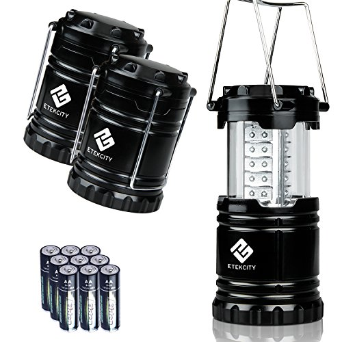 Etekcity 3 Pack Outdoor Portable LED Lantern Flashlights with 9 AA Batteries – Camping Survival Gear for Hiking, Emergencies, Hurricanes, Outages, Storms (Black, Collapsible)