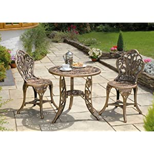 3 piece resin garden bistro patio set in bronze for Best deals on patio furniture sets