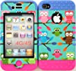 Wireless Fones TM Iphone 4/4s Case Dual Layer Hybrid Impat Resistant Protective Tiny Owls on Teal Snap on Over Two Tone 1 Skin