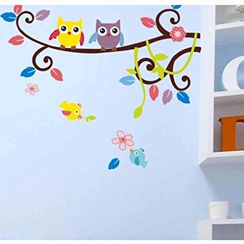 Hatop Owl Cartoon Animals Birds Nursery Wall Art Stickers Decal Home Decor Boys and Girls Children Courtyard Baby Kid's Room (G) (Boy Personalized Wall Murals compare prices)