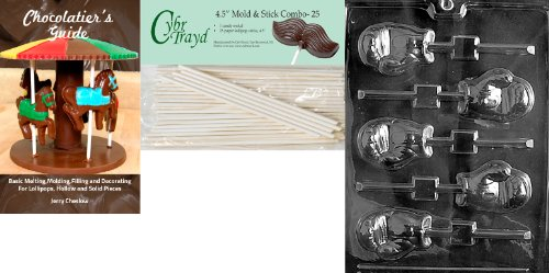 Cybrtrayd 'Boxing Glove Lolly' Sports Chocolate Candy Mold with 25 4.5-Inch Lollipop Sticks and Chocolatier's Guide (Candy Making Gloves compare prices)