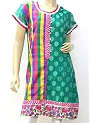 B3Fashion Green Patola Weave & Multi Coloured Check Print Supernet Kurti With Coordinating Embroidery