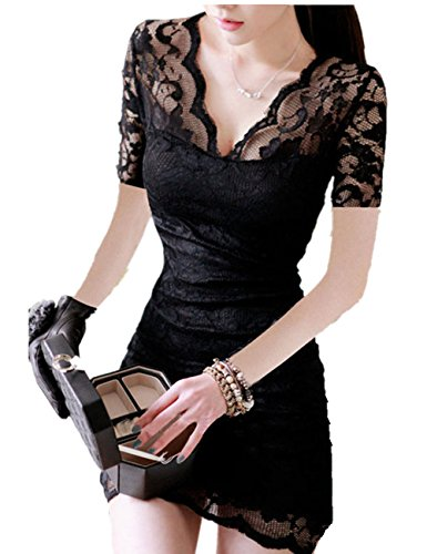 Lady Sexy Short Sleeve Evening Party Cocktail Ball Lace Mini Dress Clubwear (M (Us Xs), Black)