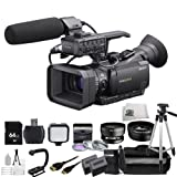 Sony HXR-NX70U NXCAM Professional Camcorder + 64GB Bundle 19PC Accessory Kit. Includes 64GB Memory Card + Wide Angle & Telephoto Lenses + Filter Kit + Tripod + More