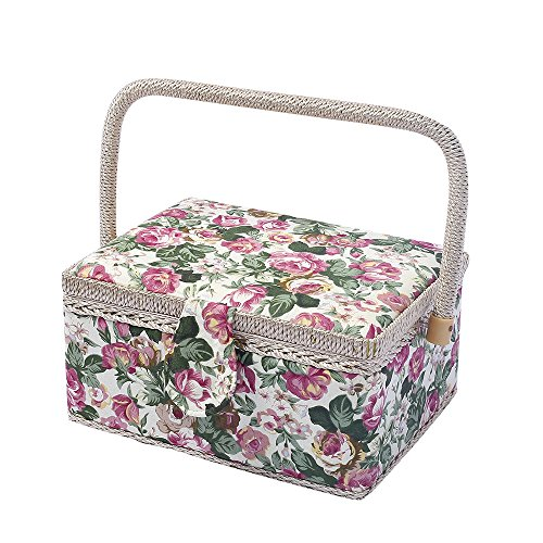 Classic Floral Print Fabric Large Sewing Basket Home Storage Box, 129 Pcs Sewing Kit Accessories, 9.6