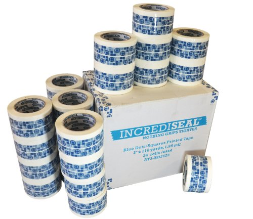 INCREDISEAL 24 Rolls Packaging Tape, 3 Inch x 110 Yards x 1.95 Mil - Security Print Blue Dots on White (Print Packaging Tape compare prices)