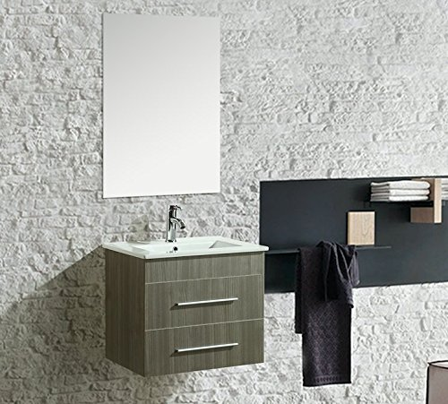 Mobile Arredo Bagno Kristal 60 cm Sospeso Moderno Grigio