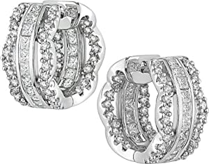 18k White Gold 2ct TDW Diamond Hoop Earrings (G-H, SI2)