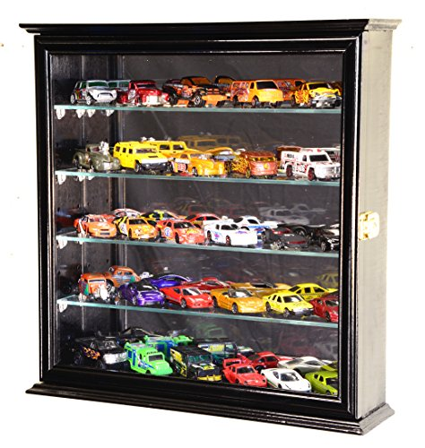 4 Adjustable Shelves Mirrored Hot Wheels / Matchbox / Diecast Cars / 1/64 Model Display Case Cabinet, Black (Display Cases For Die Cast Cars compare prices)
