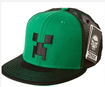 Minecraft Creeper Face Premium Snap Back Hat Greenblack from Jinx