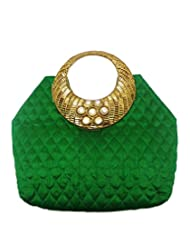 Bhamini Quilted Raw Silk Handbag With Striated Gold And Diamond Floral Handle (Green)