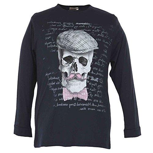 Maglia t-shirt taglie forti uomo Maxfort 24051 manica lunga - Nero, 8XL