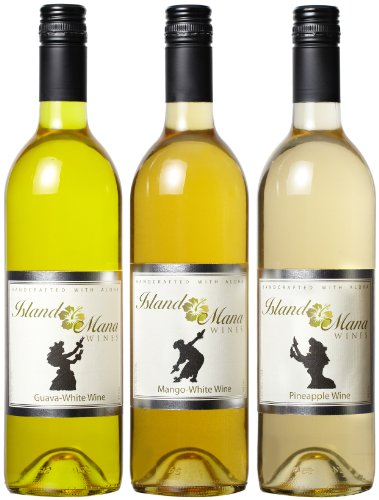 Island Mana Tropical Fruit Wines - Hawaiian Wine Mixed Pack (Guava Wine, Mango Wine, Pineapple Wine) 3 X 750Ml