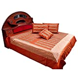 Set of 5 Ethnic Treat 1 Double Bedcover, 2 Cushion Covers, 2 Pillow Covers Bed Cover LxB: 90x108 inches (7.5x9.0 feet) , Pillow Cover LxB: 18x26 inches, Cushion Cover LxB :16x16 inches Brick Red Double Bed Cover