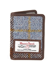 Pure Wool Harris Tweed Checked Travel Card Holder