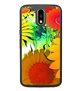 Bright Colourful Flower Pattern 2D Hard Polycarbonate Designer Back Case Cover for Motorola Moto G4